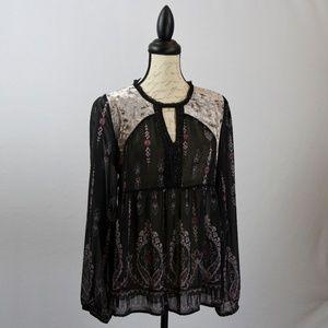 Tops - Sheer black tunic w/ beading and velvet